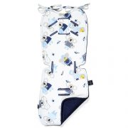 VELVET COLLECTION - THICK STROLLER PAD - HELLO WORLD - ROYAL NAVY